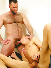 Hairy dad forces young twink to suck his cock till he gags