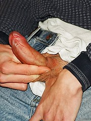 Russian twink jacking off cock and load his cum