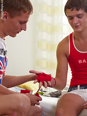 Bareback teen boys make a sticky mess!
