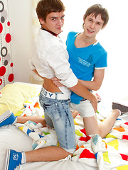 Tickling boys get very playful!